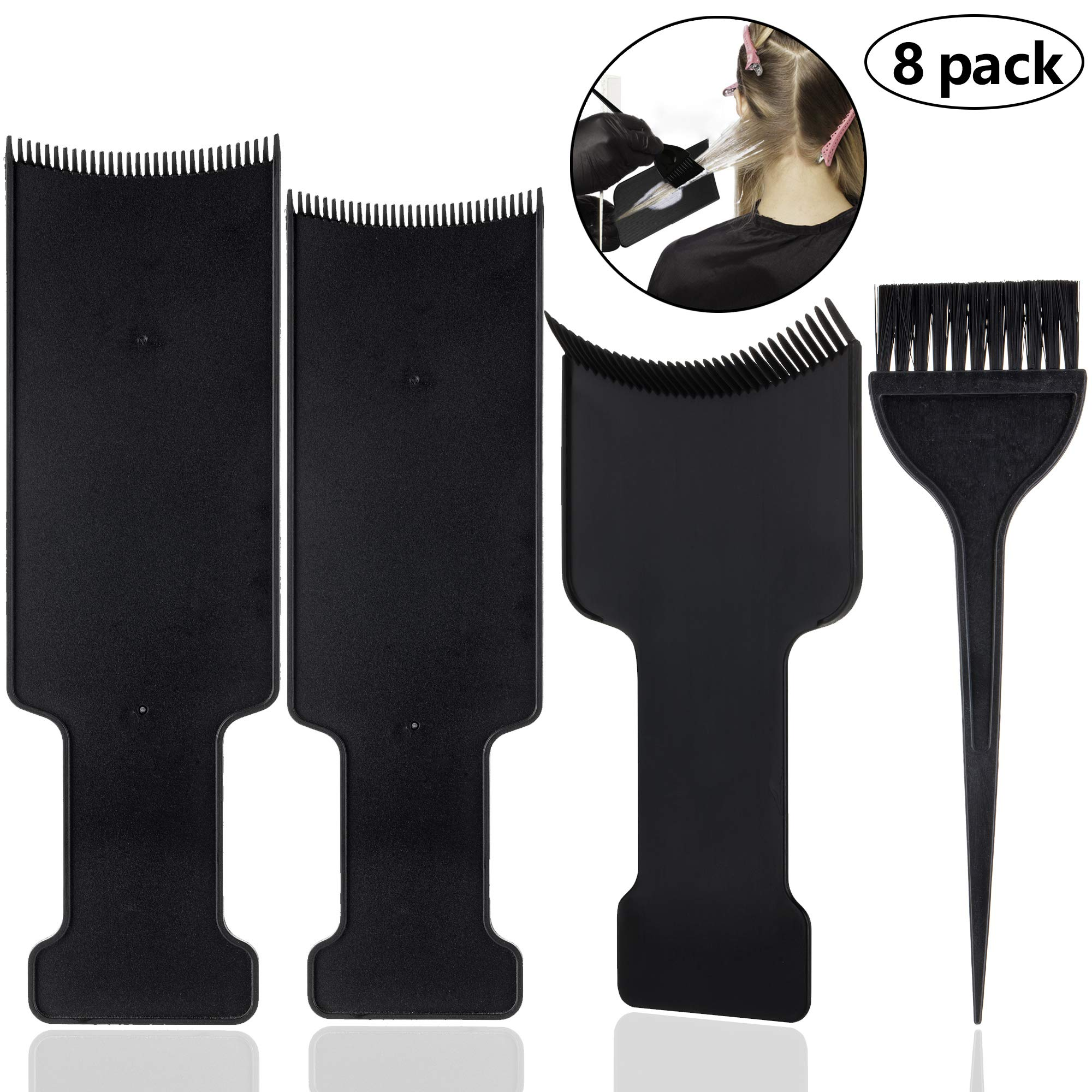 8 Pcs Hair Highlighting Board and Brush Kit, 6 Pcs Flat Top Comb Board Paddle and 2 Piece Hair Coloring Brush for Hair Dye and Salon Uses by HANJIAONI