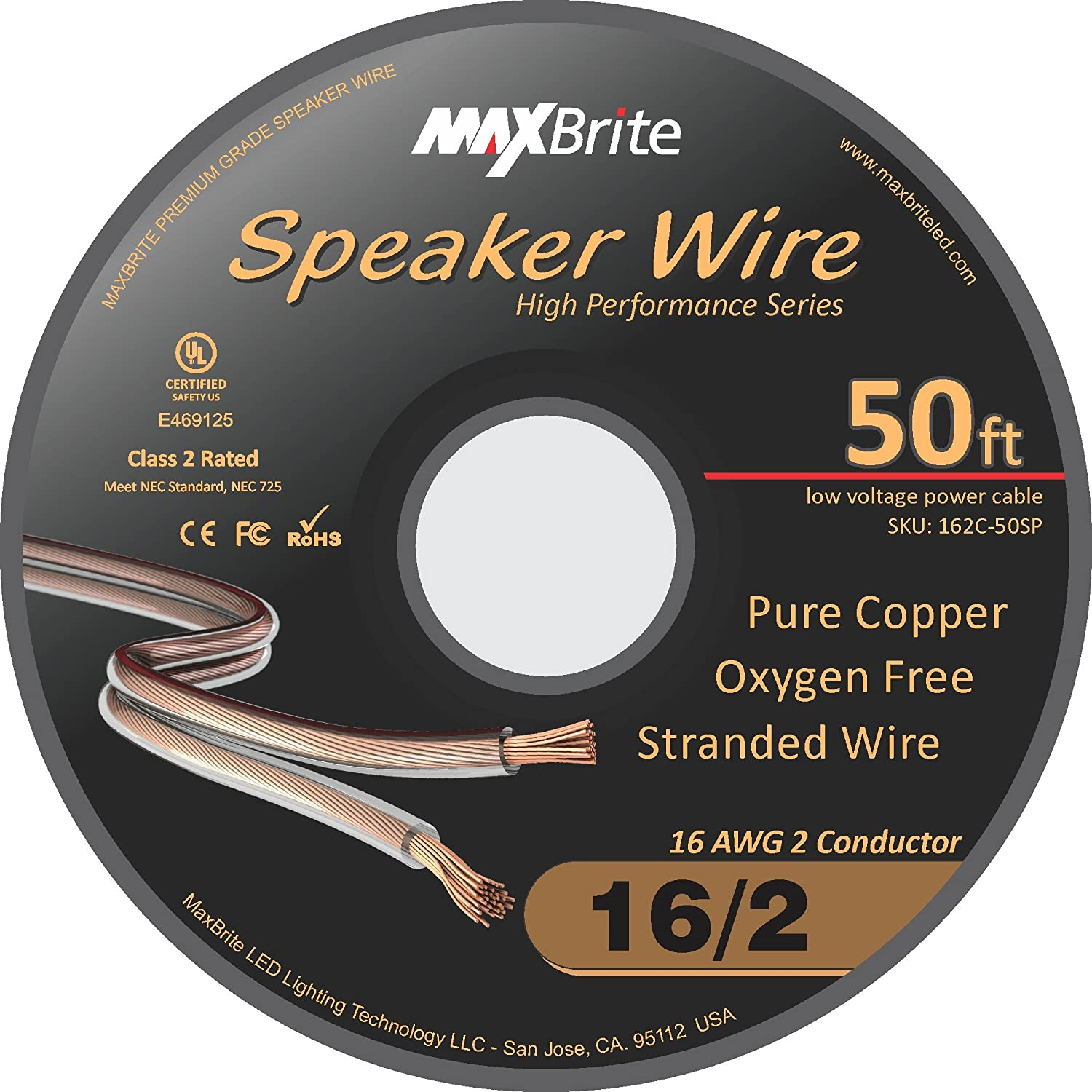 Amazon.com: High Performance 16 Gauge Speaker Wire, Oxygen Free Pure ...