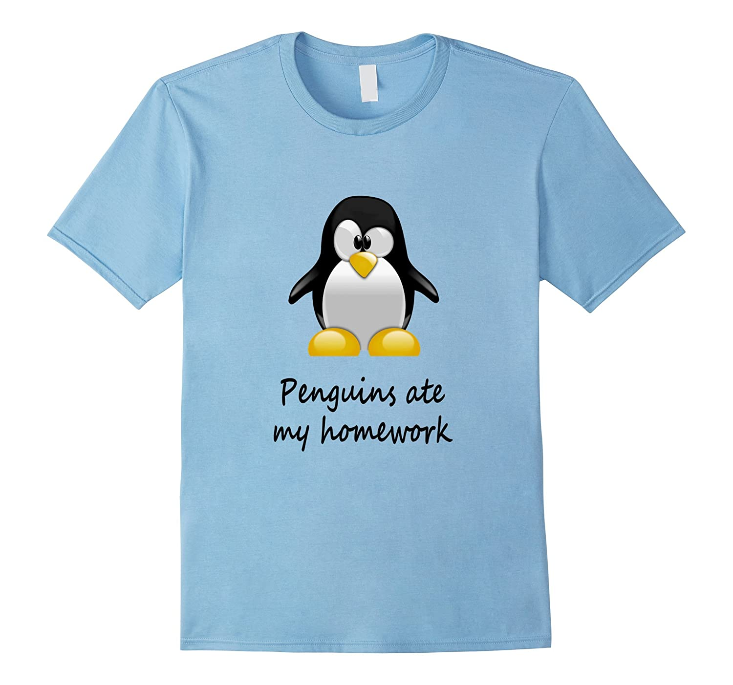 Penguins Homework Funny T shirt Students-Tovacu