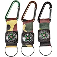 Fun Express Camouflage Army Belt Clip Compass Key Chains (1 Dozen) - Bulk