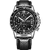 腕時計 メンズ ウォッチ ビジネス アナログ クロノグラフ 防水 日付表示 本革バンド ブラック