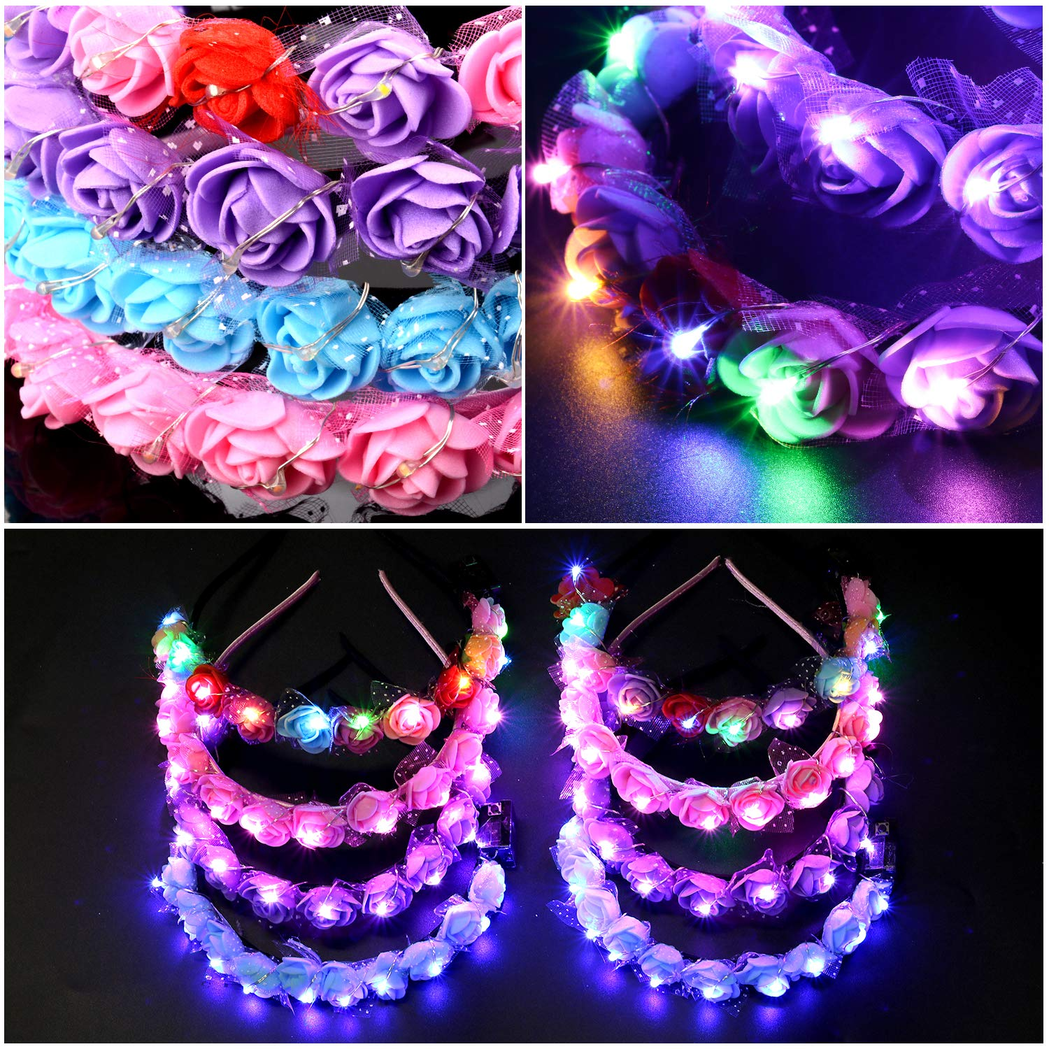 Legendog 8PCS Led Headband, Fashion Faux Flower Headbands for Women, Light Up Flower Headband, Led Flower Headband for Kids Teens Girls Women Birthday Wedding Holiday Christmas Halloween Party