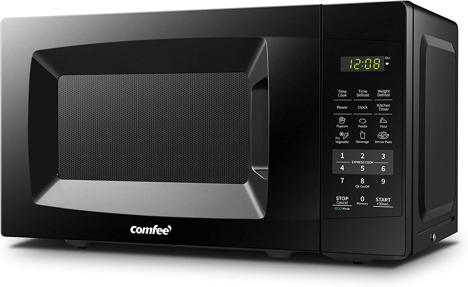 COMFEE' EM720CPL-PMB Countertop Microwave Oven with Sound On/Off, ECO Mode and Easy One-Touch Buttons, 0.7cu.ft, 700W, Black (Renewed)