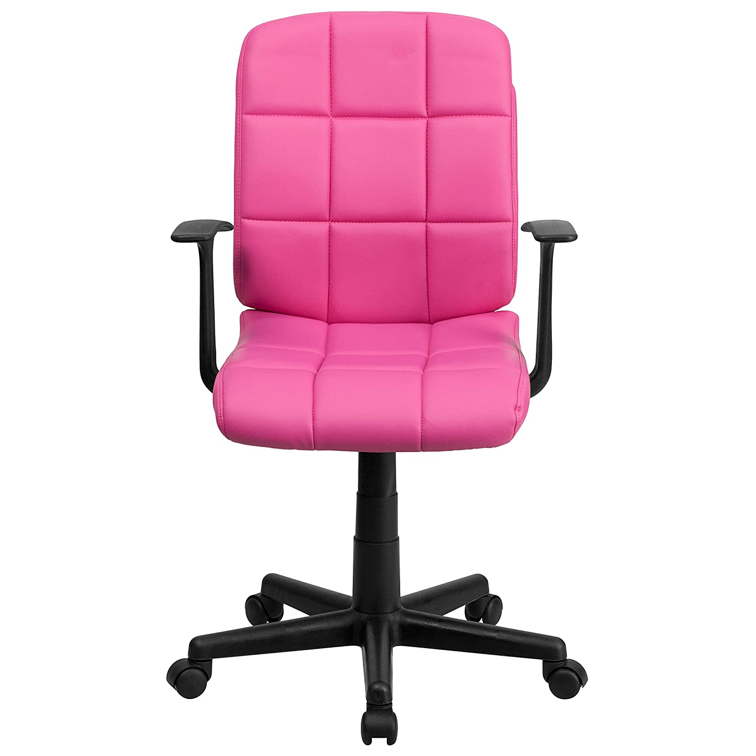 Amazon Flash Furniture Mid Back Pink Quilted Vinyl Swivel