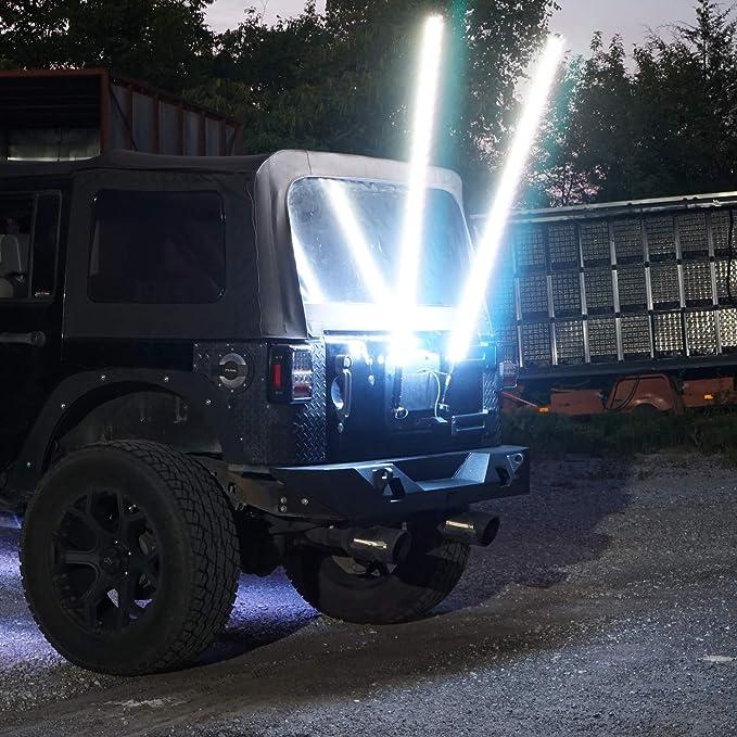 LED Whip Lights Antenna RGB Color Whips W//Flag fits ATV UTV RZR Off Road Sand Dune Buggy Wrangler 4X4 Quad Boat Marine 4 Feet RGB Single