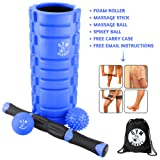 Gym Monkey Foam Roller With Massage Stick Lacrosse Ball Spikey Ball and Carry Case. 4in1 Best Fitness Set for Muscle Massage and Sports Massage with free Blueprint Exercise Routine E-book included.