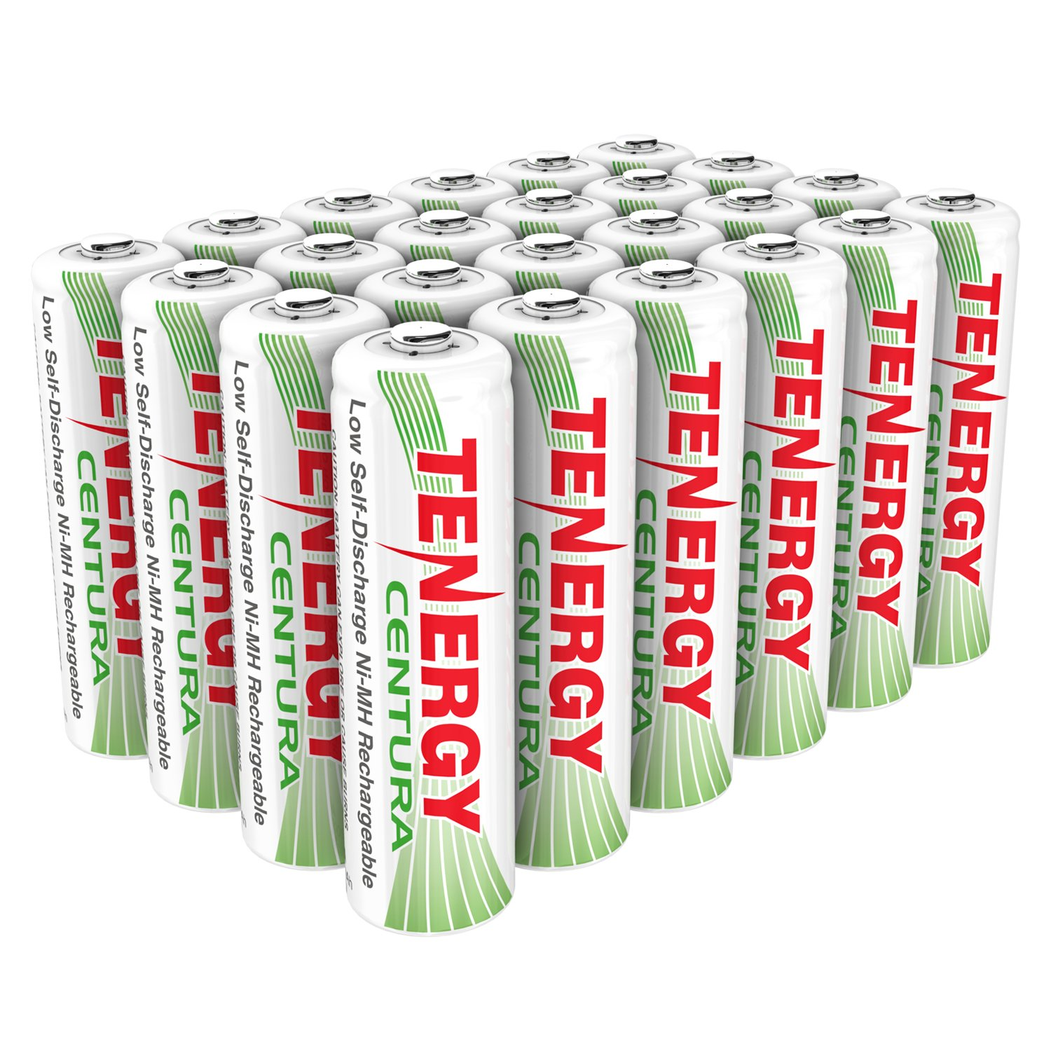 Tenergy Centura AA NiMH Rechargeable Battery, 2000mAh Low Self Discharge Batteries, Pre-Charged AA Batteries, 24 Pack by Tenergy