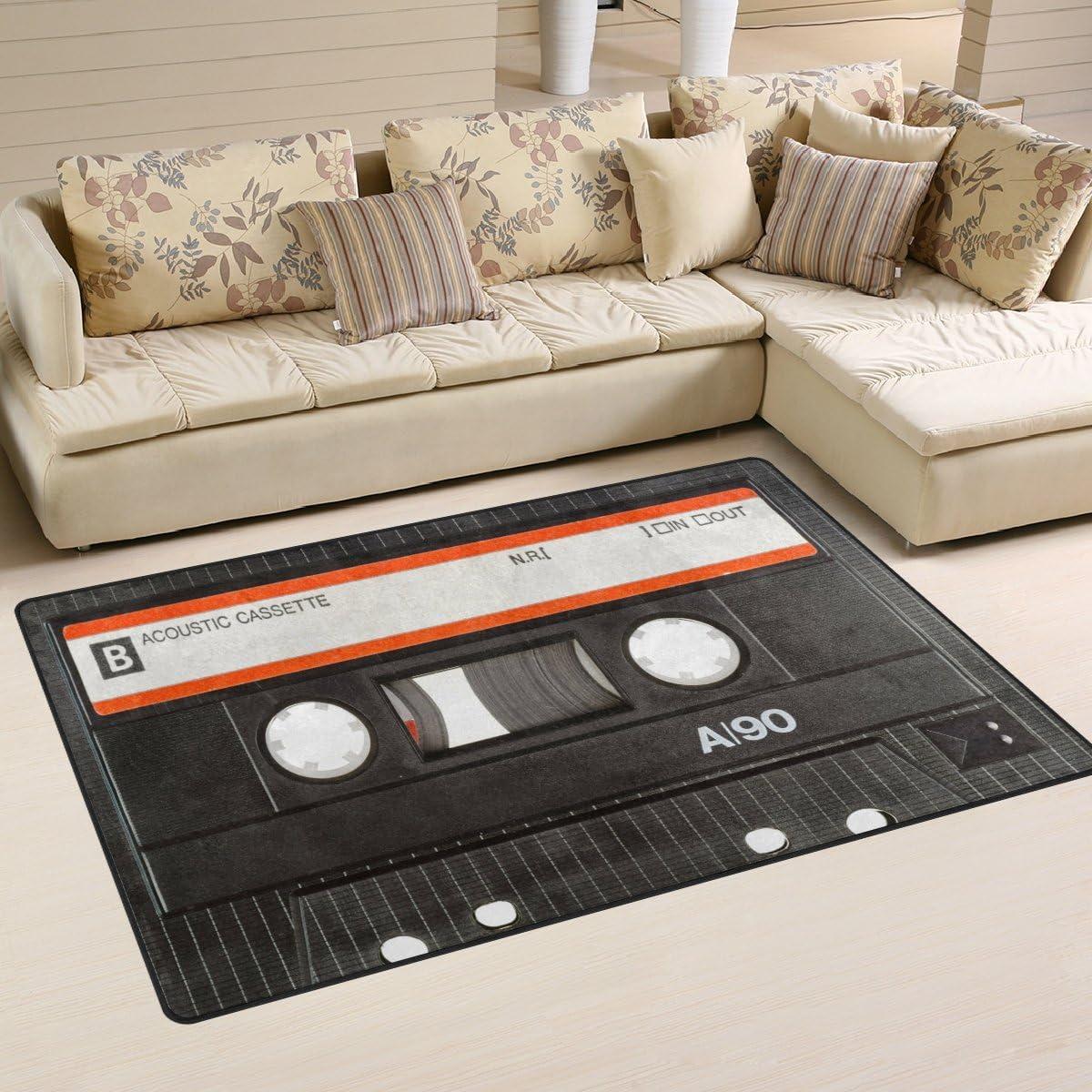 WOZO Old Cassette Tape Music Area Rug Rugs Non-Slip Floor Mat Doormat
