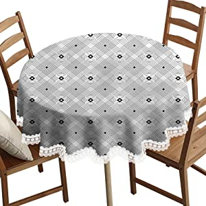 SoSung Modern Decorative Round Table Cloth,Square and Lines Pattern Washable Polyester Lace Edge Table Covers, Diameter 70 Inch, for Birthday Parties, Weddings, Dining Room Tables