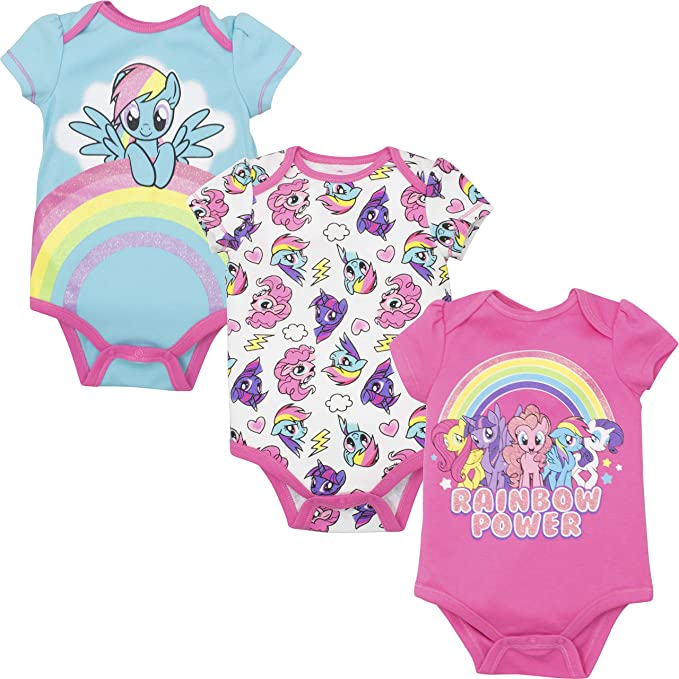 45396aa8ae My Little Pony Rainbow Dash Baby Girls' 3-Pack Glitter Bodysuits, Multi 0