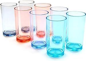 Youngever 16 Ounce Premium Quality Plastic Water Tumbler, Plastic Glasses, Reusable Plastic Cups, Unbreakable Glasses, Plastic Tumblers, 4 Colors, Set of 8