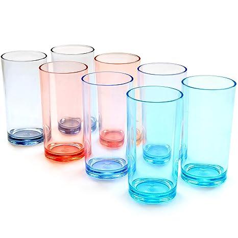 Glasses 16 Ounce Shatterproof Premium Quality Plastic Water Tumbler Reusable 8
