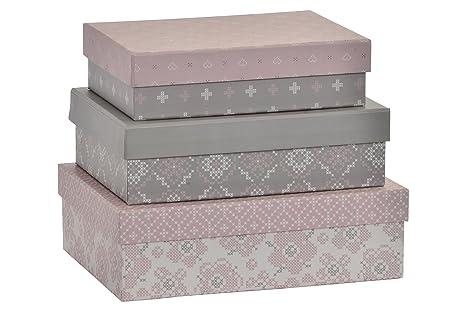 Item Cajas, Cartón, Rosa, 24.0x17.0x7.0 cm, 3