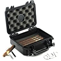 Waterproof Travel Cigar Humidor Case - Holds up to 20 Cigars - with Accessories kit (Includes Cigar Cutter & Collapsible Cigar Stand)