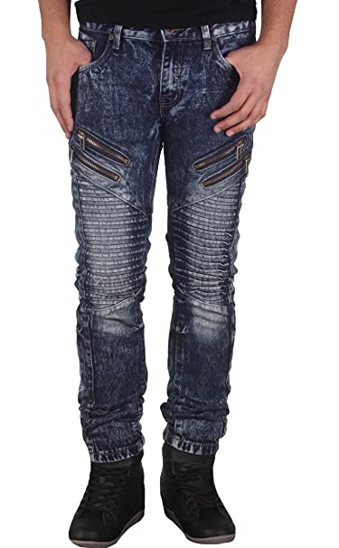 Amazon.com: De los hombres Skinny Fit Acid Wash Moto jeans ...
