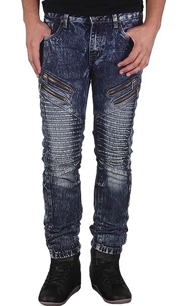 Amazon.com: De los hombres Skinny Fit Acid Wash Moto jeans ...