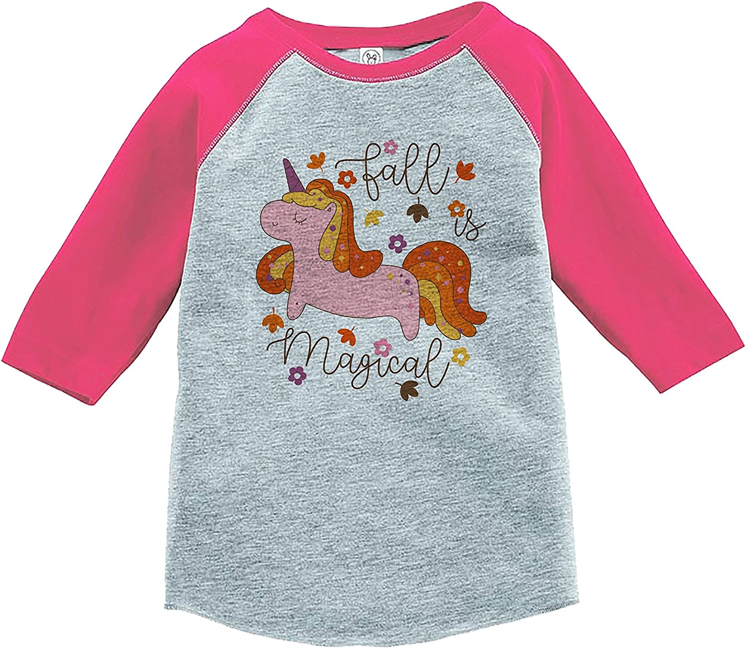 7 ate 9 Apparel Girls Fall Unicorn Pink Baseball Tee