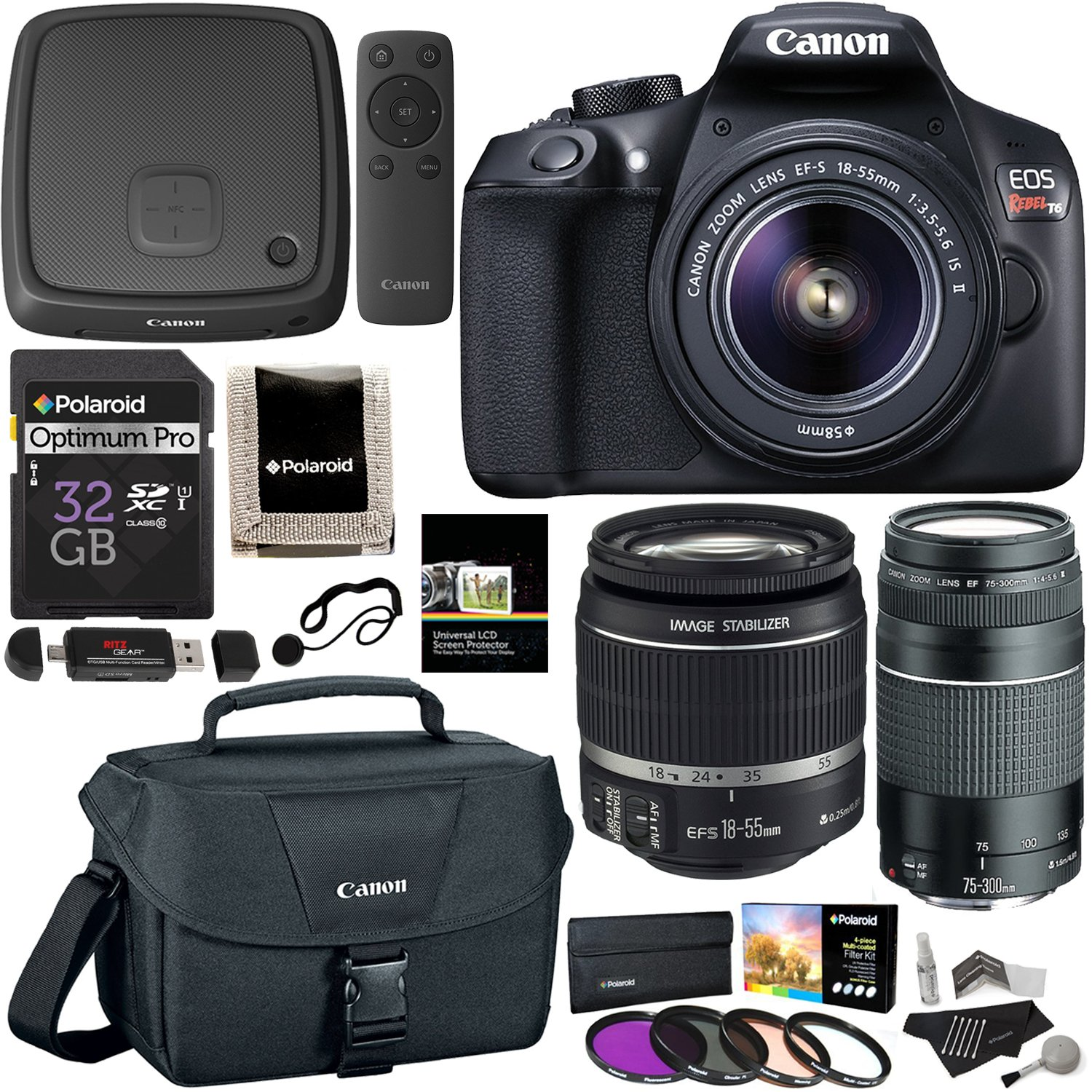Canon EOS Rebel T6 Digital SLR Camera Kit with EF-S 18-55mm f/3.5-5.6 IS II Lens, Canon EF 75-300mm f/4-5.6 III Telephoto Zoom Lens, Canon Connect Station CS100, 32GB Memory, Filters Accessory Bundle by Ritz Camera