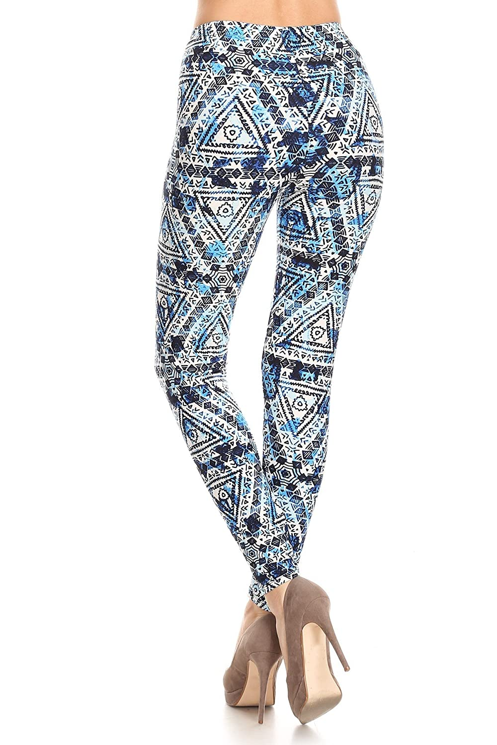 Expert Design Womens Regular Colorful Psychedelic Pattern Printed Legging Black Blue