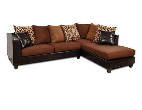 Chelsea Home Furniture Ashley 2 Piece Sectional, Upholstered In Denver  Mocha/Victory Chocolate