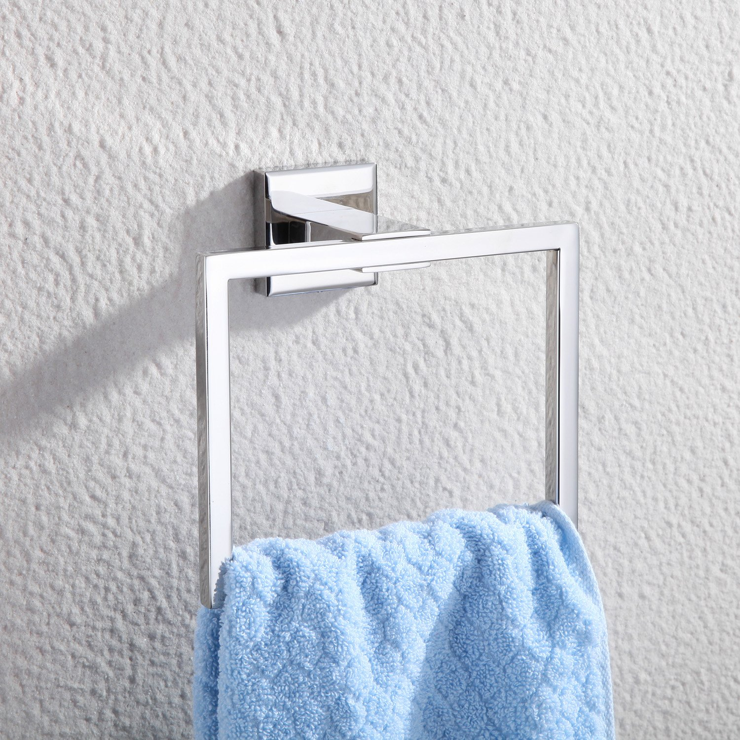 Haiying Bath Towel Holder Hand Towel Ring Hanging Towel Hanger Bathroom Accessories Contemporary Hotel Square Style Wall Mount,Polished SUS 304 Stainless Steel Finish