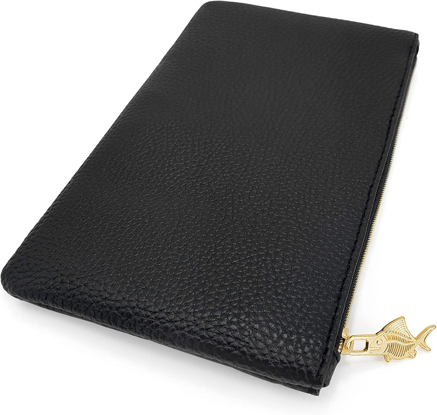 by Fat Belly Fish Black Faux Leather Pencil Case Leather Look Pencil Case