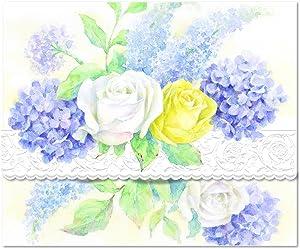 Carol's Rose Garden Roses and Hydrangeas Blank 10 Card Set Portfolio