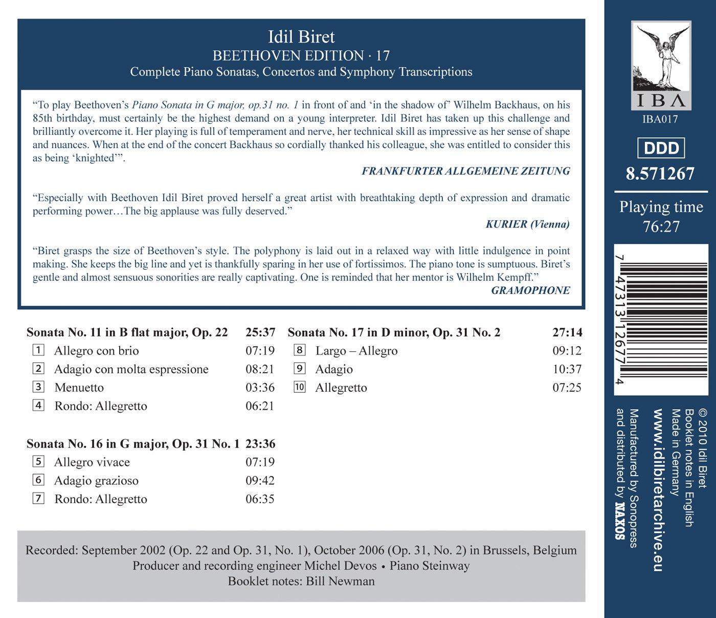LUDWIG VAN BEETHOVEN - Idil Biret Beethoven Edition 17: Piano ...