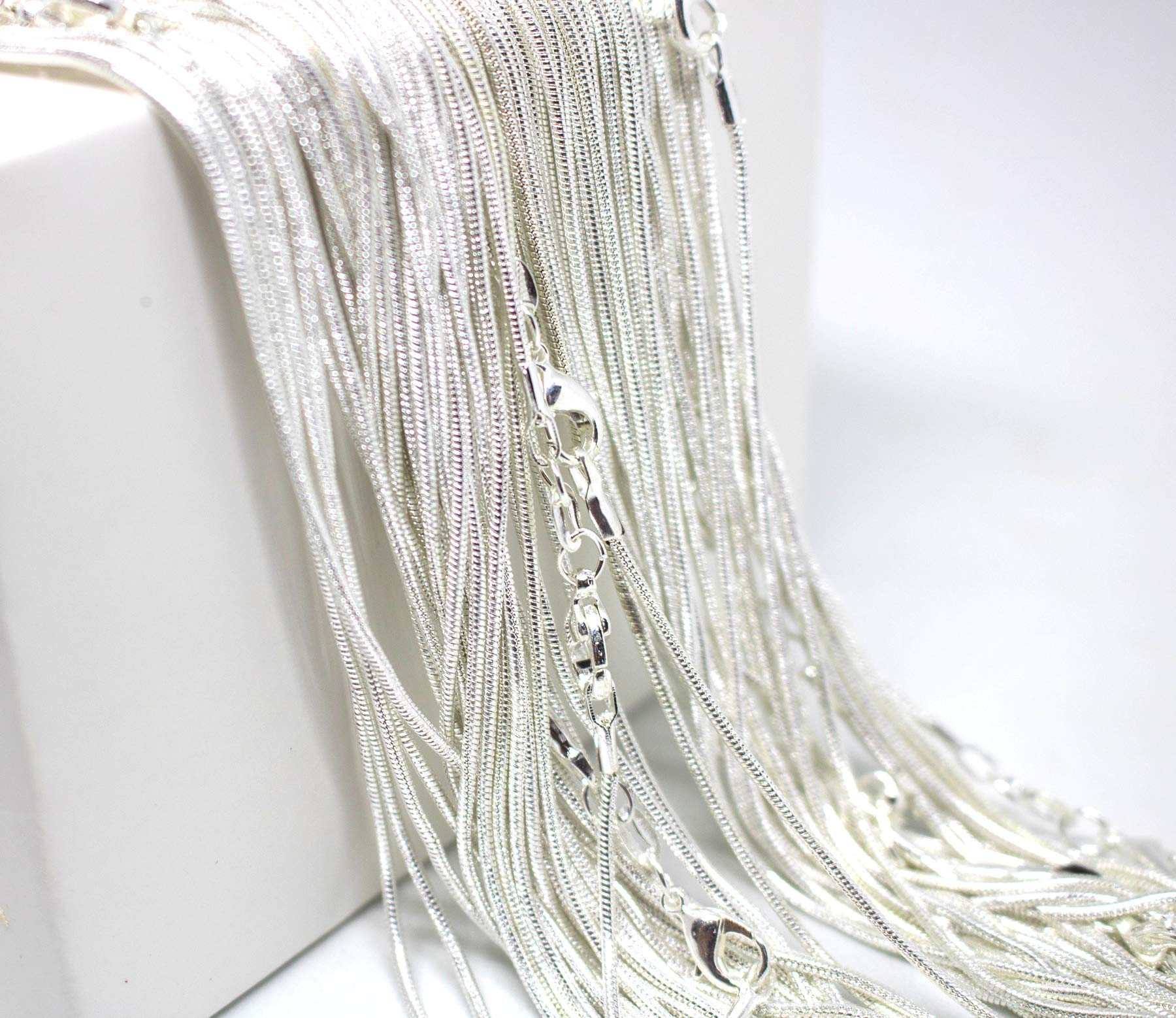 24 Inch Snake Chains Pack of 10 - Sterling Silver 925 Snake Chains Bulk - Sterling Silver Plated Chains for Jewelry Making - Top Quality USA Seller Maddie's Pearls (24 Inch, 10 Chains) by Maddie's Pearls
