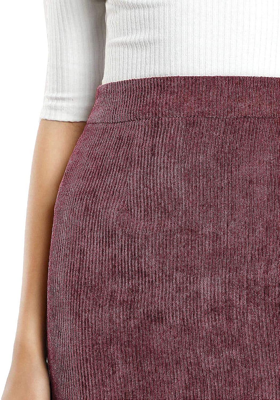 MAKEMECHIC Womens Zipper Back A-line Bodycon Mini Faux Suede Corduroy Skirt