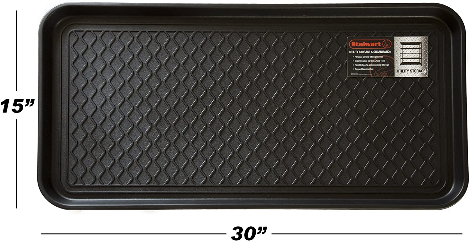 Amazon Com Stalwart 75 St6012 All Weather Boot Tray Water Resistant Plastic Utility Shoe Mat For Indoor And Outdoor Use In All Seasons Black Large Furniture Decor