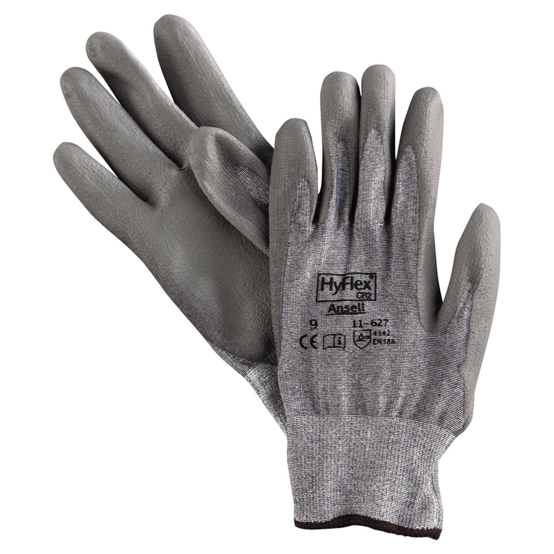 Ansell 11-627-9 HyFlex Dyneema/Lycra Work Gloves, Size 9, Gray (Pack of 12)