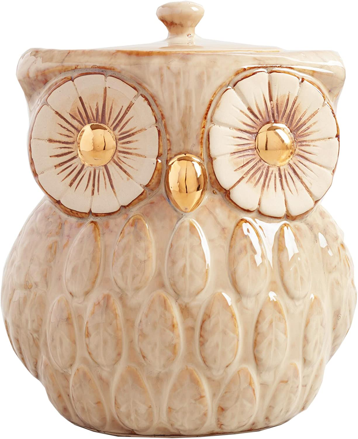 Ceramic Owl Cookie Jar - Rustic Decor with Vintage-Antique Look Food Container - Kitchen Organization and Storage - Metallic Gold - 104 oz