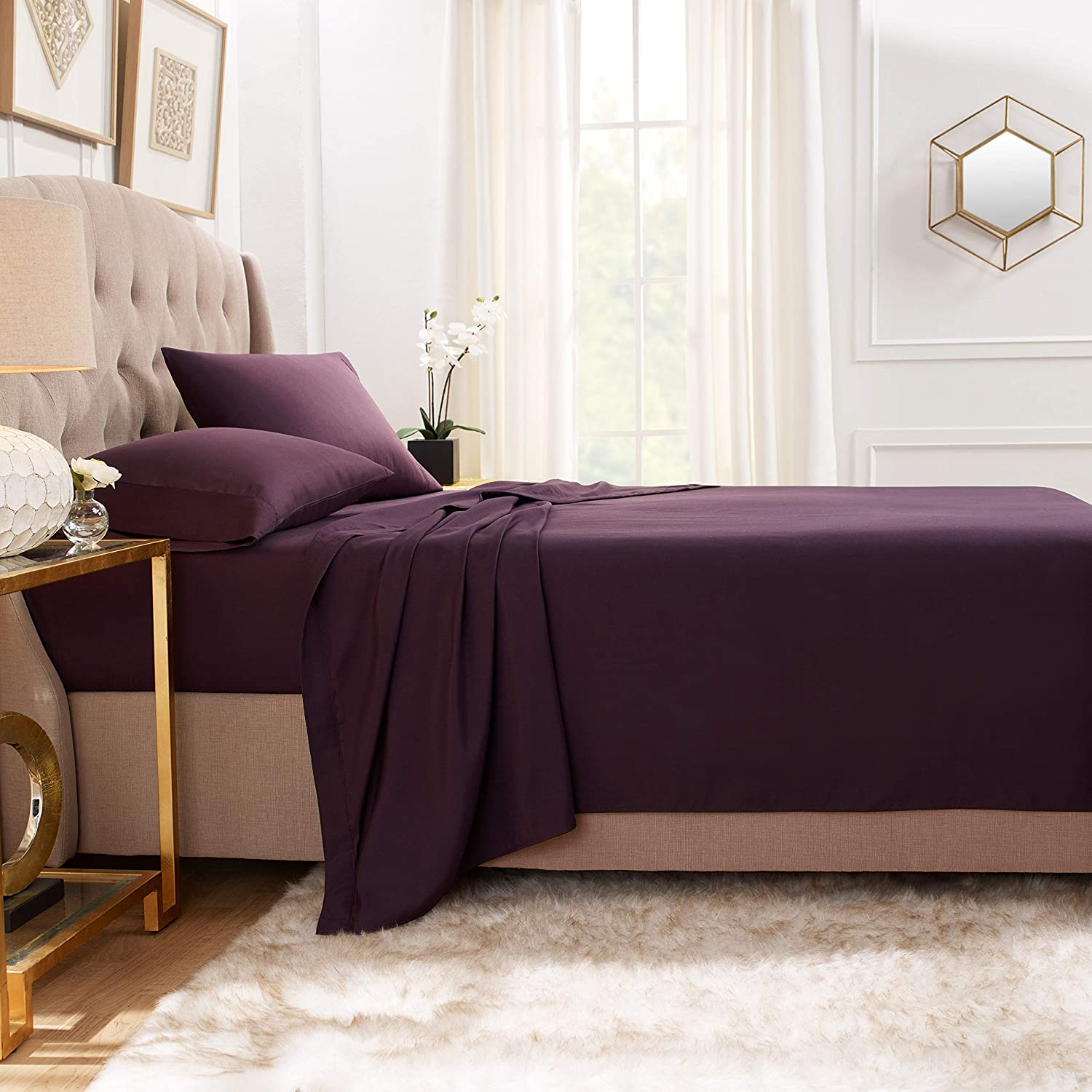"""Luxurious /& Soft Hotel Hypoallergenic Empyrean Bedding Premium Flat Sheets Twin 2-Pack /""""110 GSM/"""" Top Bed Sheets Double Brushed Microfiber Thick and Comfortable Flat Sheets Set Purple Eggplant"""