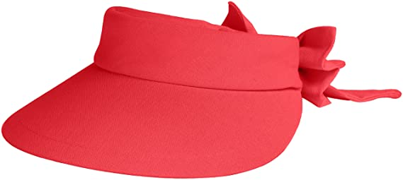 Scala Women s Deluxe Big Brim Cotton Visor with Bow a469bfaaf