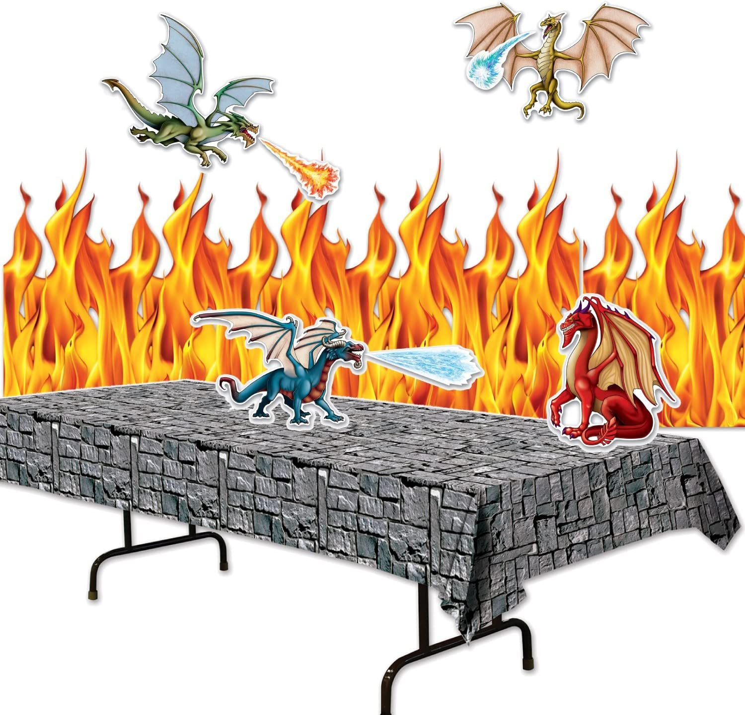 FAKKOS Design Dragon Party Supplies Decor Set - Flame Backdrop, Stone Table Cover, Dragon Cutouts