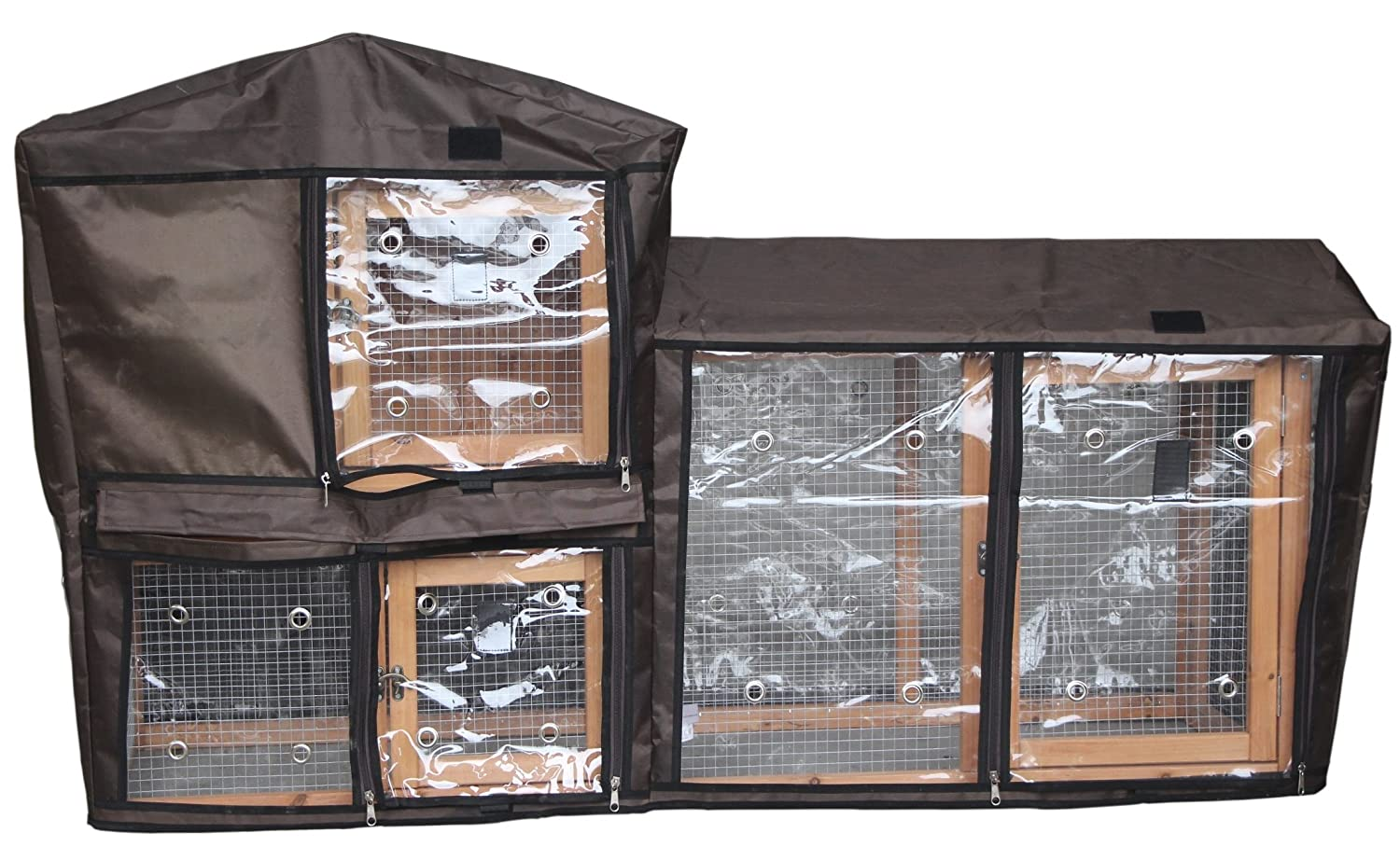 FED21968 + cover Easipet Wooden Hutch and Run Two Tier in L or XL for Rabbit, Guinea Pig or Ferret (FED21400 + cover)