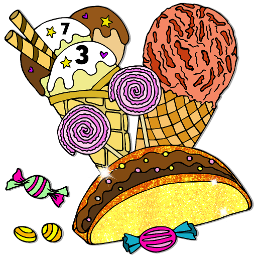 Amazon.com: Ice Cream Color By Number Book - Food Paint + Glitter + Crayon  + Oil Paint Coloring Pages: Appstore For Android