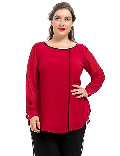 Chicwe Blusas Tops Tallas Grandes Mujeres Camiseta con Forro Espalda Plisada 1X-4X