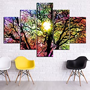 Art Work for Home Walls Color Palette and Tree Paintings Abstract Grunge Background with Spots Picture 5 Piece Canvas Modern Artwork Home Decor for Living Room Framed Ready to Hang(60''Wx40''H)