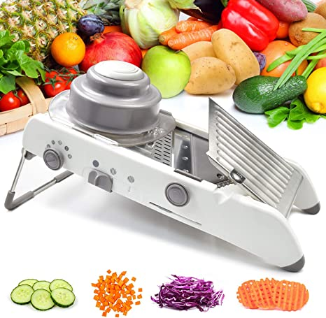 Amazon Com Vegetable Mandoline Slicer Waffle Cutter French Fry Shredder Fruit Chopper Potato Julienne Veggie Onion Peeler Tomato Grater Adjustable Thicknesses Safety Hand Guard Stainless Steel Blade White Kitchen Dining