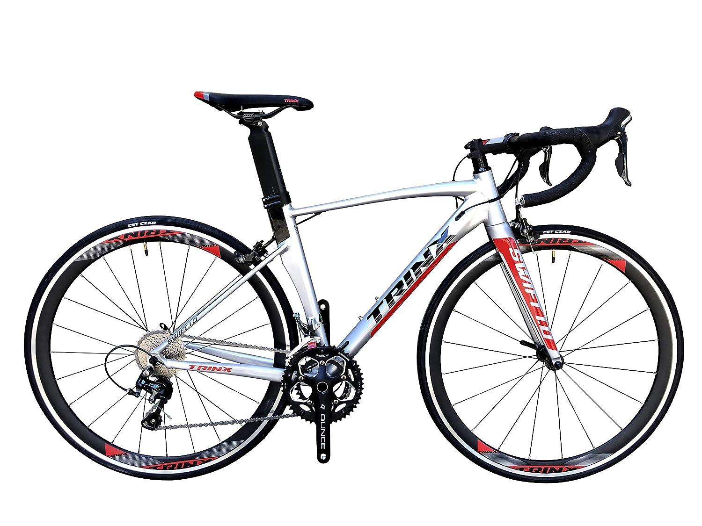 トリンクス(TRINX) 【ロードバイク】エアロダイナミクス 軽量アルミ700C&カーボンエアロフォークShimano シマノTiara20Speed搭載の勝つ為のロードグレードアップモデル swift1.0 シルバー/レッド 520mm   B07QT4MR97