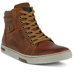 Spring Step Men's Humbert Sneakers, Brown Leather, Rubber, 40 M EU, 7-7.5 M