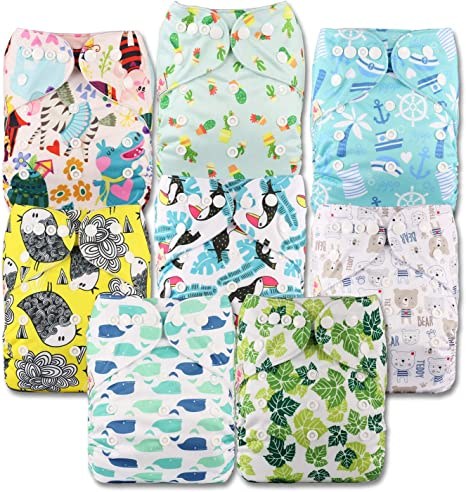 Set of 12 Without Insert Patterns 1203 Fastener: Popper Reusable Pocket Cloth Nappy Littles /& Bloomz