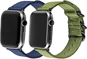 AGUPERFIT Nylon Bands Compatible with Apple Watch 42mm 44mm, Robust and Breathable Replacement Strap Works with iWatch Series 6/SE/5/4/3/2/1 (2Colors Olive+Navy Blue, 42mm/44mm S/M/L)