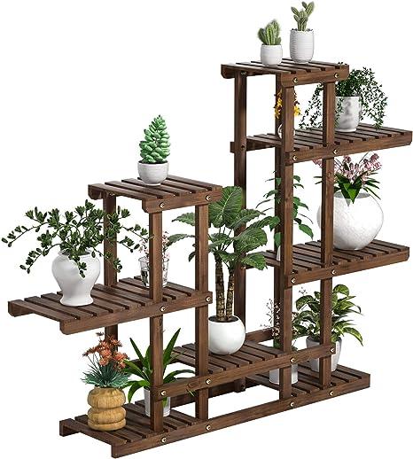 Yaheetech Estantería de Macetas para Interior Soporte de Madera Flores Plantas Estante de 3 Niveles para Jardía Terraza 120x 25x 96cm