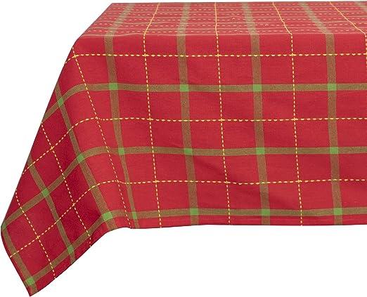 Basicome Manteles de algodón a cuadros para reuniones de Navidad, mantel grande para mesa de 6 a 8 plazas, 140 x 240 cm pulgadas de Navidad, a cuadros, arándano: Amazon.es: Hogar