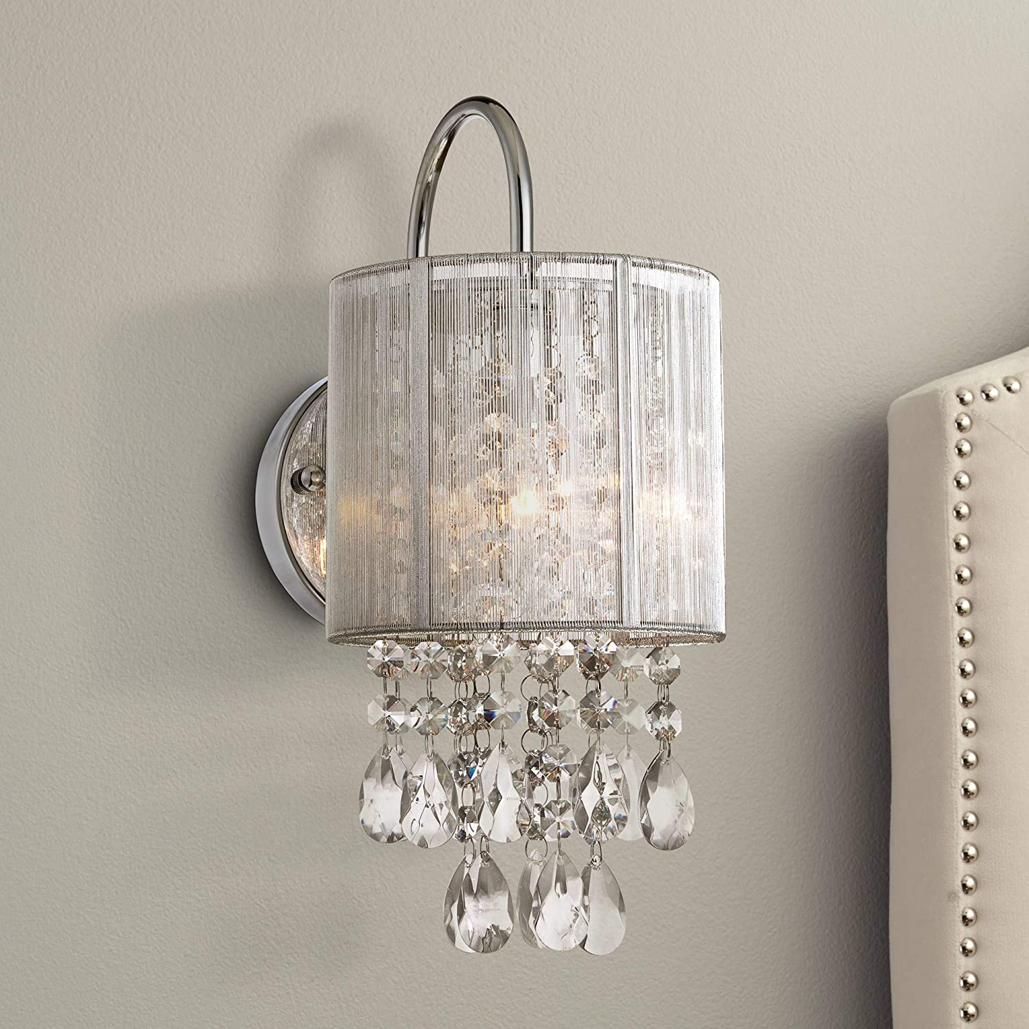 Silver line modern wall light chrome 12 crystal dangle sconce for bathroom bedroom hallway possini euro design