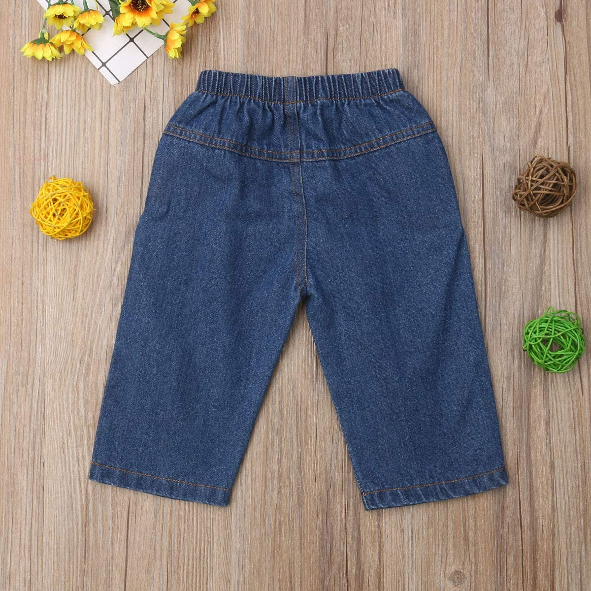 Muasaaluxi Infant Baby Kid Girls Boys Denim Ripped Jeans Long Pants Eyes Trousers Casual Clothes