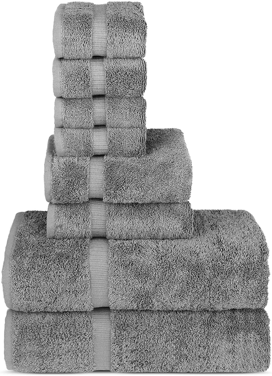 Chakir Turkish Linens Hotel & Spa Quality, Highly Absorbent Towel Set (Set of 8, Gray)
